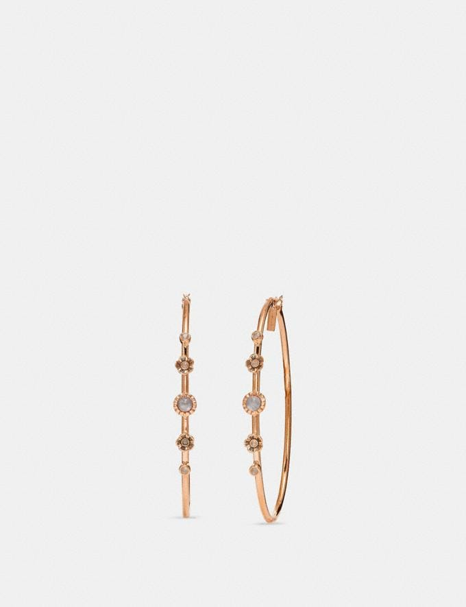 Coach Demi-Fine Sunburst Hoop Earrings Grey/Rose Gold Women Accessories Jewelry