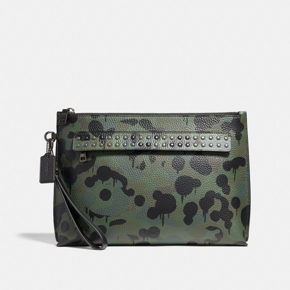 POUCH WITH WILD BEAST PRINT AND STUDS