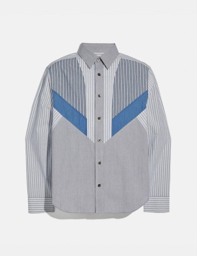 Coach Striped Shirt Blue Stripe New Men's New Arrivals Ready-to-Wear