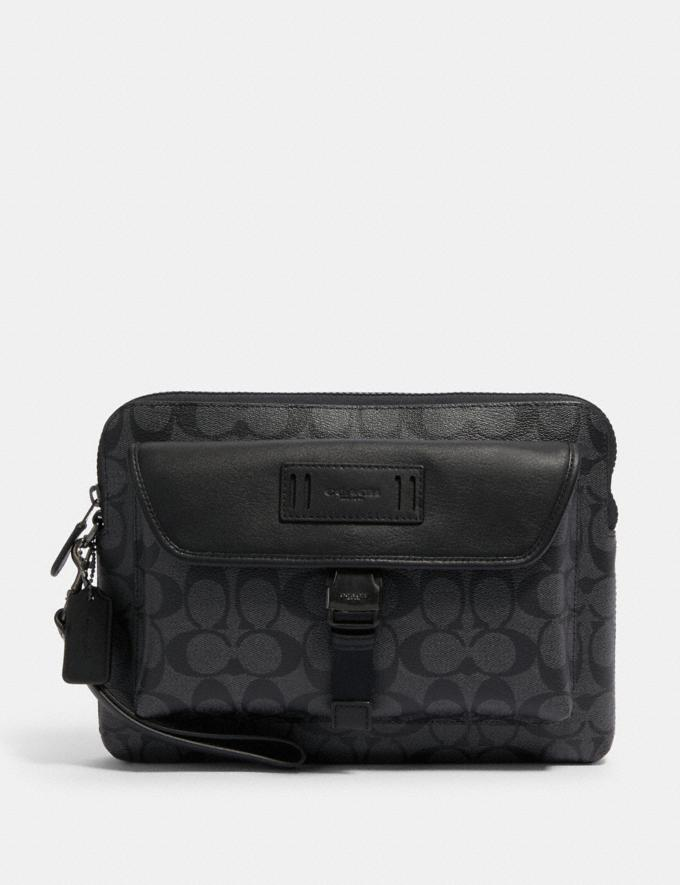 Coach Ranger Pouch in Signature Canvas Qb/Charcoal/Black