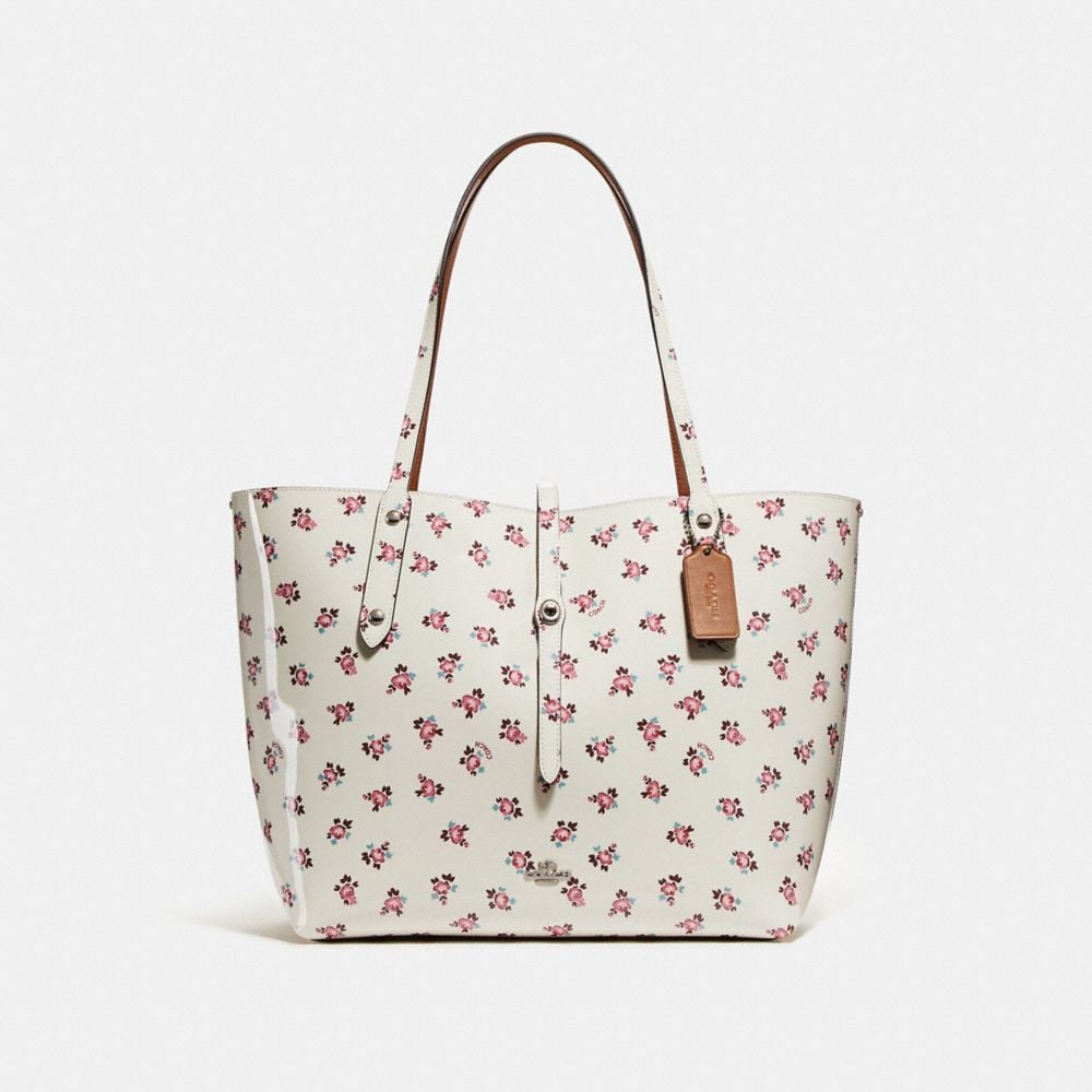 market tote with floral bloom print