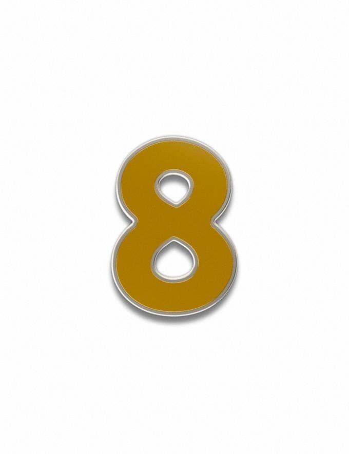 Coach Number 8 Souvenir Pin Golden Yellow Customization For Her Customization SKUs