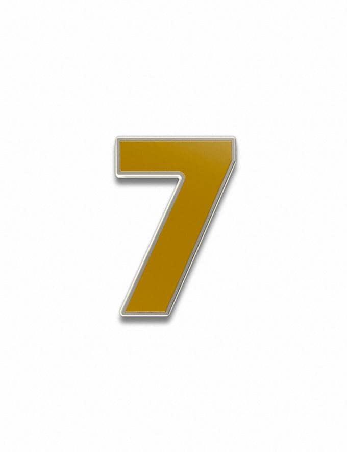 Coach Number 7 Souvenir Pin Golden Yellow Customization For Her Customization SKUs