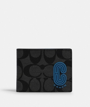 SLIM BILLFOLD WALLET IN COLORBLOCK SIGNATURE CANVAS WITH COACH PATCH