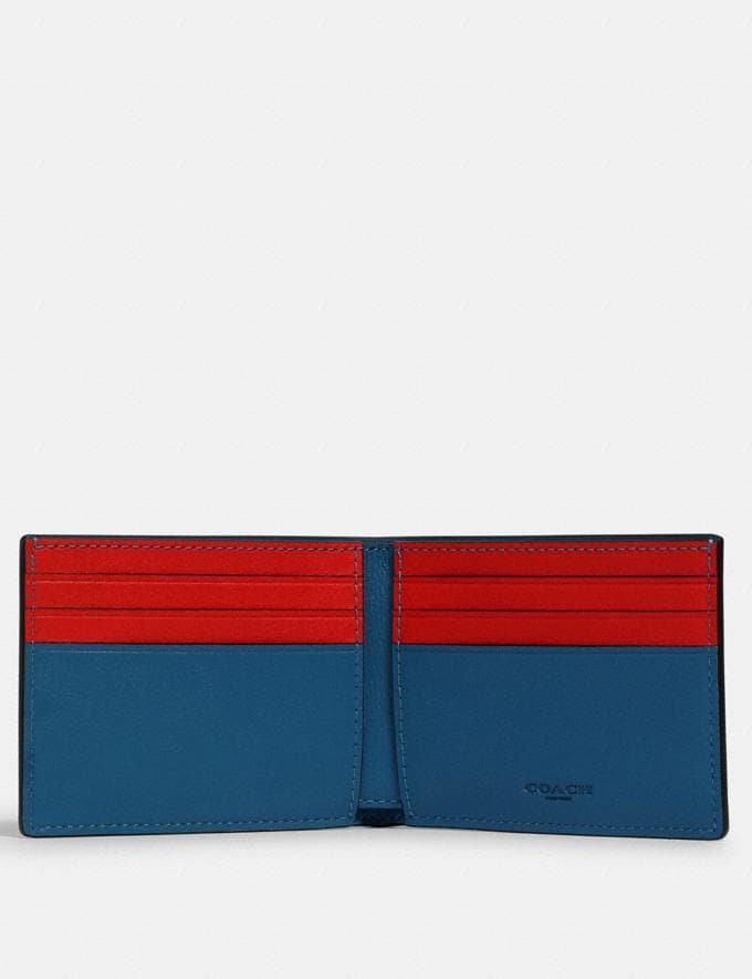 Coach Slim Billfold Wallet in Colorblock Signature Canvas With Coach Patch Qb/Charcoal/ Blue Jay Multi  Alternate View 1