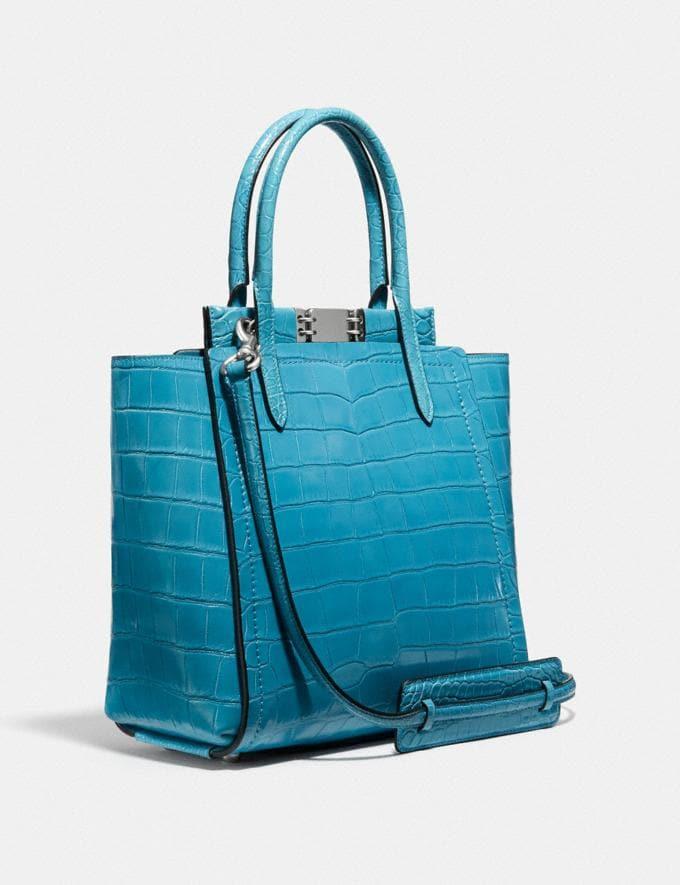 Coach Troupe Tote in Alligator Light Antique Nickel/Blue Women Handbags Satchels & Top Handles Alternate View 1