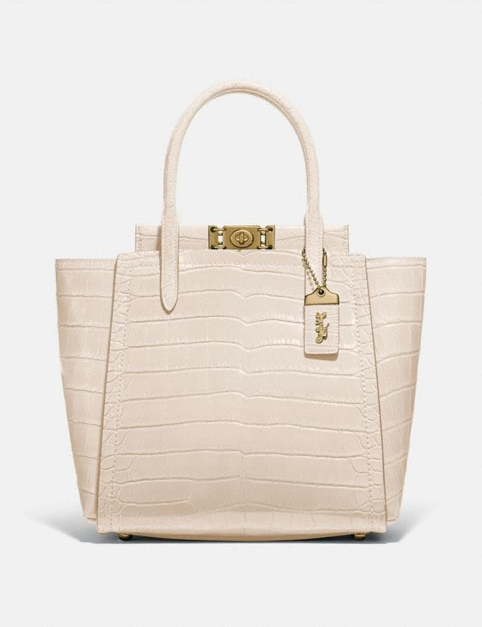 Coach Troupe Tote in Alligator Brass/Gris Women Edits Exotic & Luxe