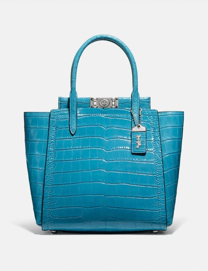 Coach Troupe Tote in Alligator Light Antique Nickel/Blue Women Edits Exotic & Luxe