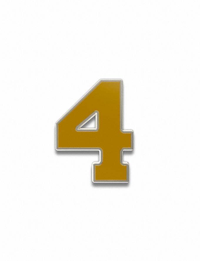 Coach Number 4 Souvenir Pin Golden Yellow Customization For Her Customization SKUs