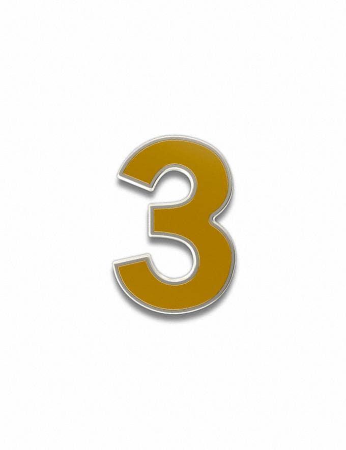 Coach Number 3 Souvenir Pin Golden Yellow Customization For Her Customization SKUs