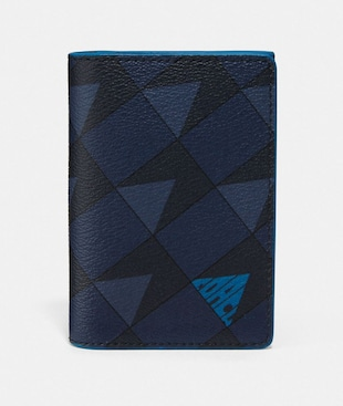 BUSINESS CARD CASE WITH CHECK GEO PRINT