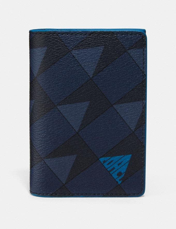 Coach Business Card Case With Check Geo Print Qb/Navy