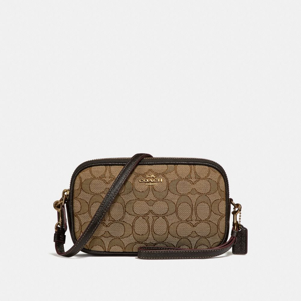 boxed crossbody clutch in signature jacquard