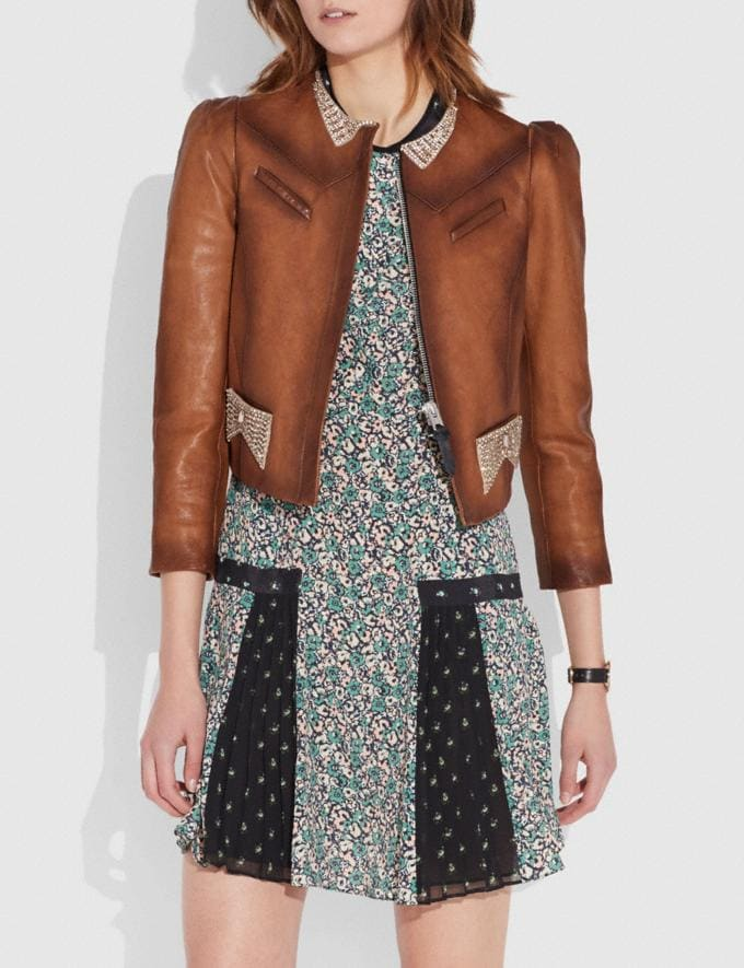 Coach Crystal Embellished Tailored Jacket Fawn  Alternate View 1