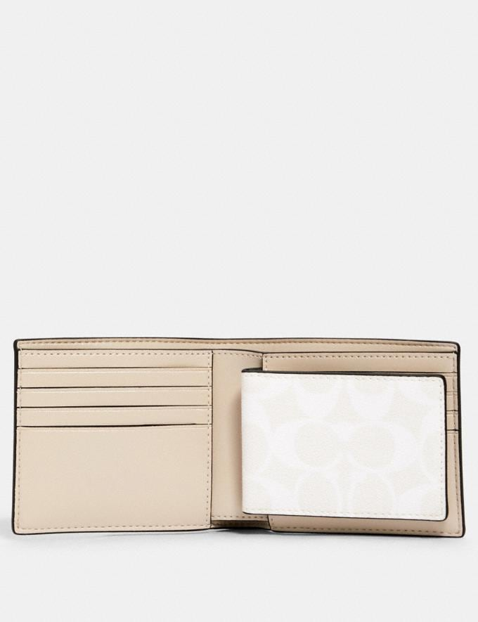 Coach 3-In-1 Wallet in Signature Canvas With Coach Patch Qb/Chalk Steam Men Alternate View 1