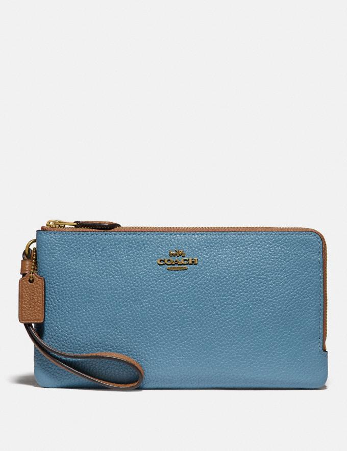 Coach Double Zip Wallet in Colorblock Brass/Pacific Blue Multi Women Wallets & Wristlets
