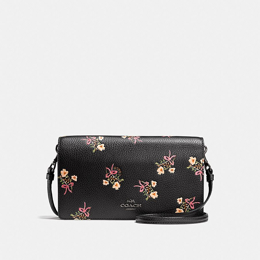 Foldover Flower Shoulder Bag Brown Coach Cheap Outlet Store Discount