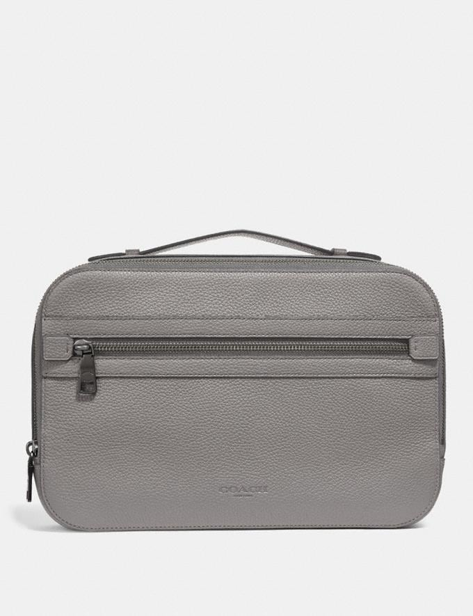 Coach Academy Travel Case Heather Grey Men Accessories Travel