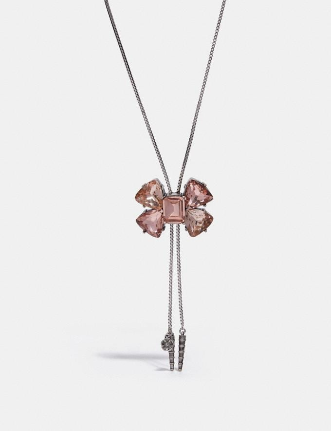 Coach Large Crystal Bow Bolo Necklace Peach/Silver Women Accessories Jewellery Necklaces