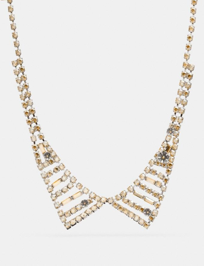 Coach Small Crystal Collar Necklace Silver Staff Sale Women's Sale Jewellery