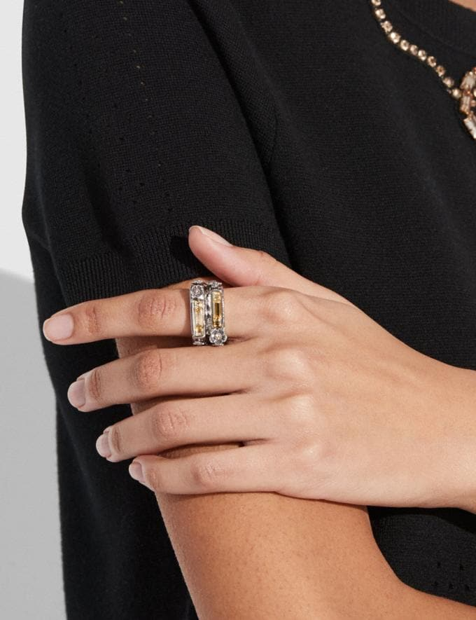 Coach Double Layer Stone Ring Multi/Silver Women Accessories Jewelry Rings Alternate View 1