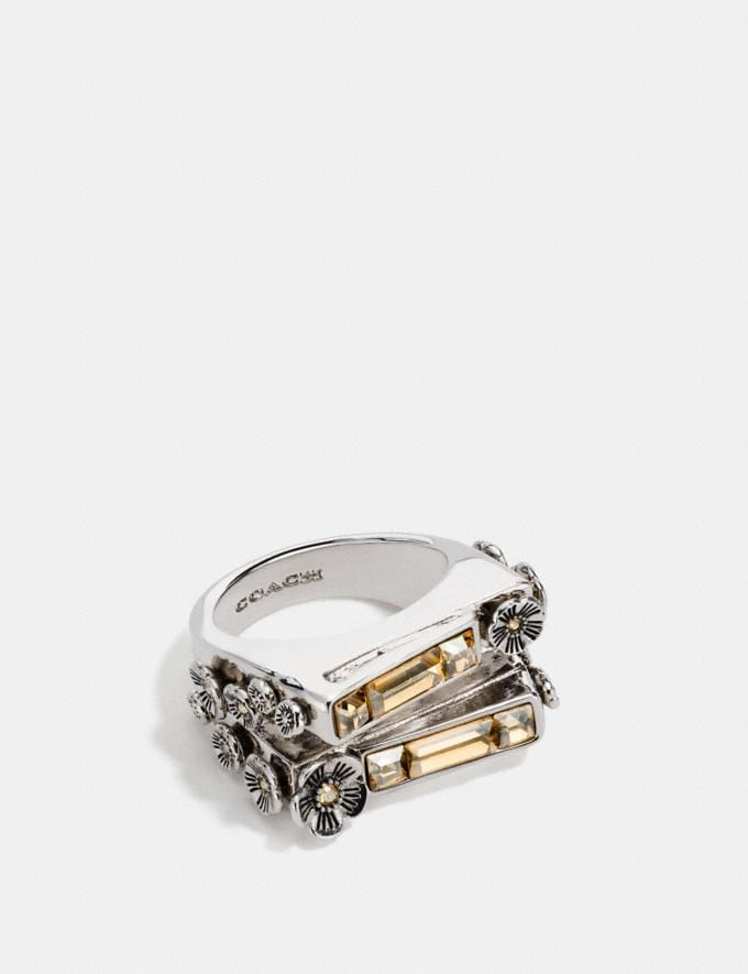 Coach Double Layer Stone Ring Multi/Silver Women Accessories Jewelry Rings