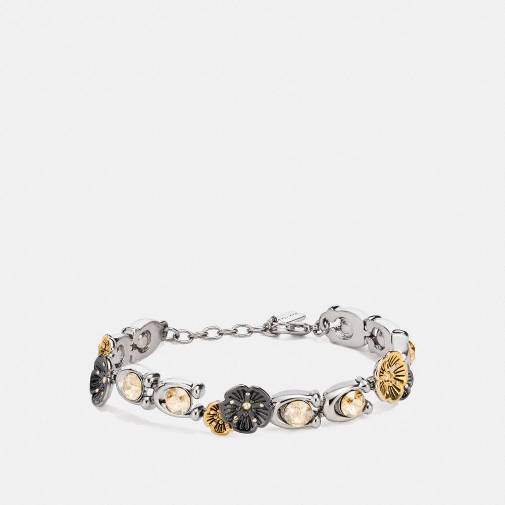 Coach Signature Stone Tea Rose Link Bracelet