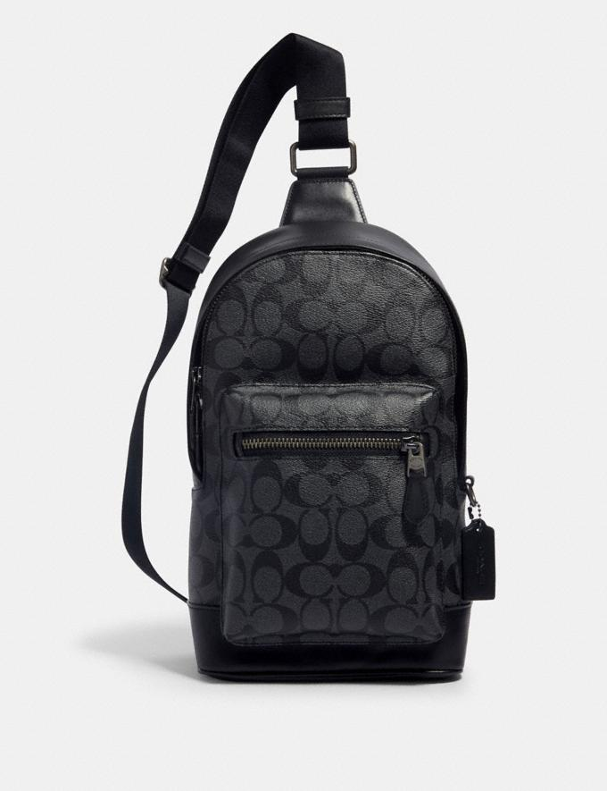 Coach West Pack in Signature Canvas Qb/Charcoal Black DEFAULT_CATEGORY