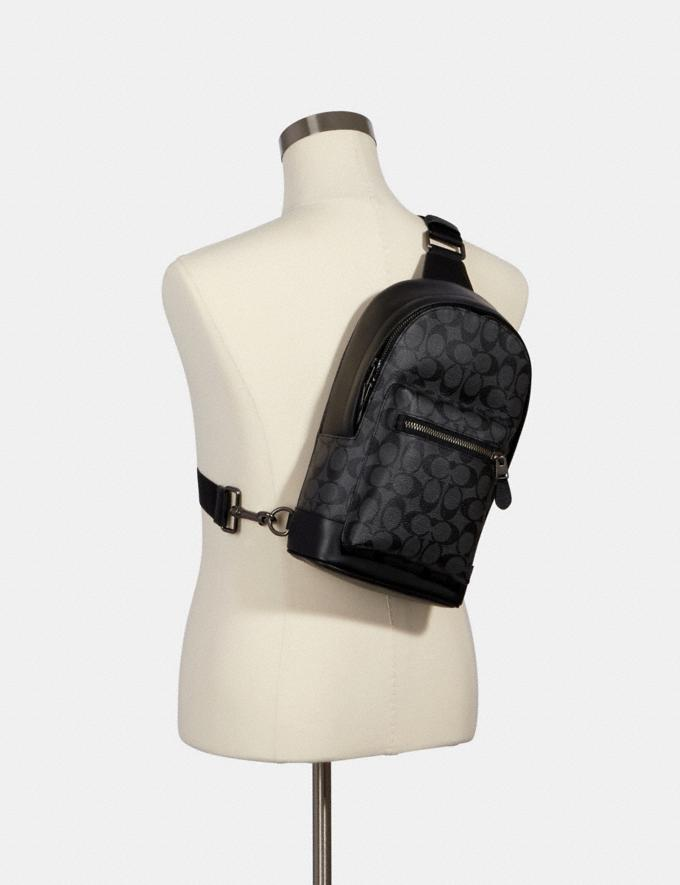 Coach West Pack in Signature Canvas Qb/Charcoal Black DEFAULT_CATEGORY Alternate View 2