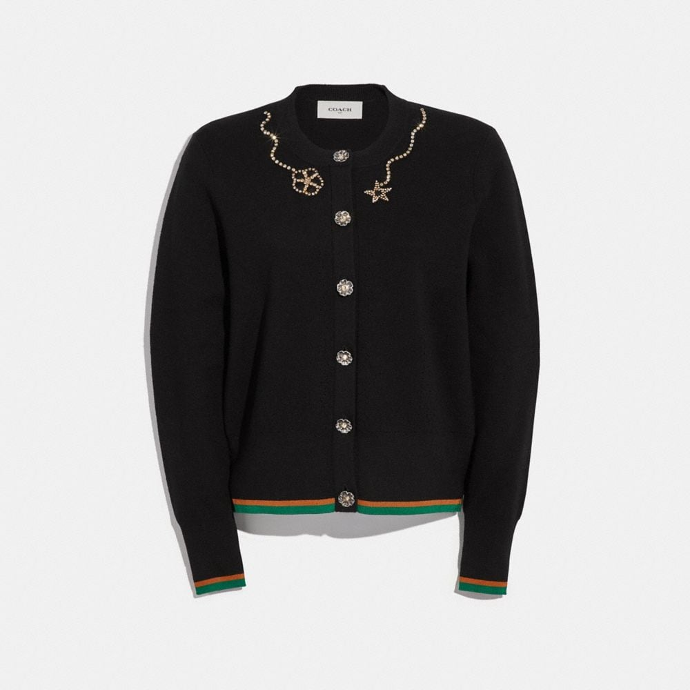 Coach Crystal Embellished Crewneck Cardigan