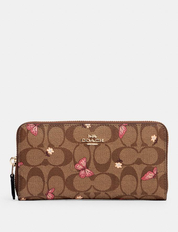 Coach Accordion Zip Wallet in Signature Canvas With Butterfly Print Im/Khaki Pink Multi