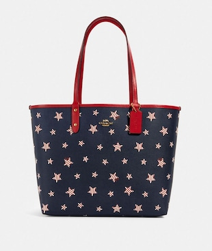 REVERSIBLE CITY TOTE WITH AMERICANA STAR PRINT