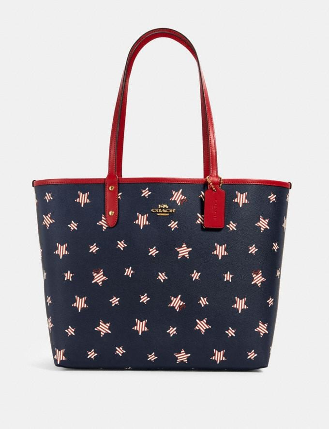 Coach Reversible City Tote With Americana Star Print Im/Navy Red Multi/True Red Deals Just Reduced
