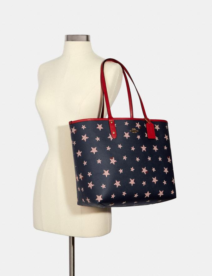 Coach Reversible City Tote With Americana Star Print Im/Navy Red Multi/True Red Deals Just Reduced Alternate View 3