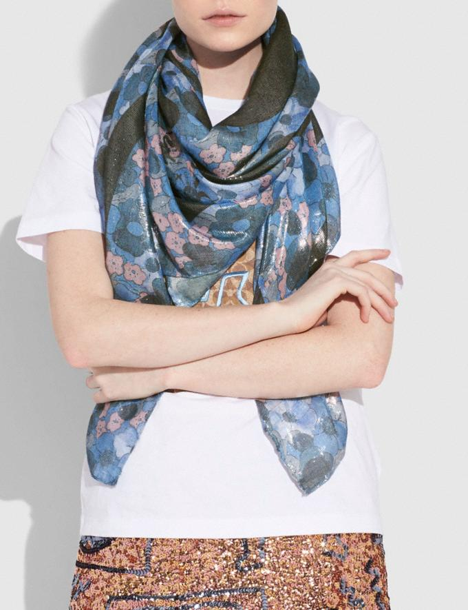 Coach Coach X Keith Haring Square Scarf Blue Multi  Alternate View 1