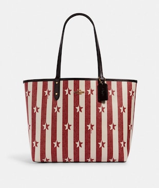 REVERSIBLE CITY TOTE WITH STRIPE STAR PRINT