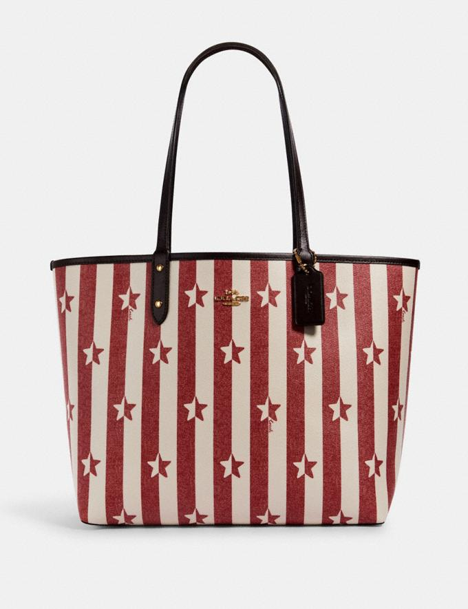 Coach Reversible City Tote With Stripe Star Print Im/Chalk Red Multi/Oxblood
