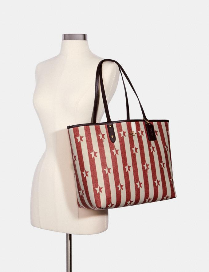 Coach Reversible City Tote With Stripe Star Print Im/Chalk Red Multi/Oxblood  Alternate View 3