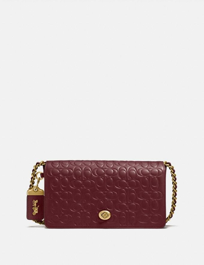 Coach Dinky in Signature Leather Bordeaux/Old Brass Women Bags Signature Bags