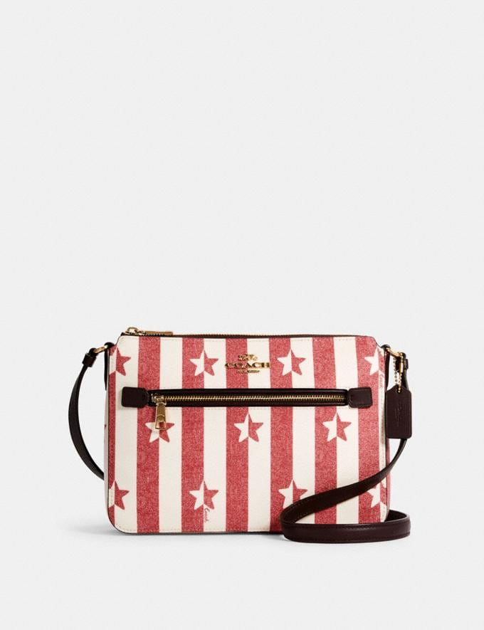 Coach Gallery File Bag With Stripe Star Print Im/Chalk/ Red Multi