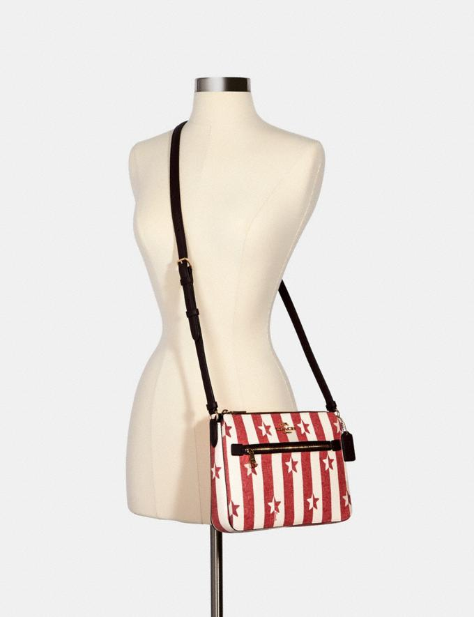 Coach Gallery File Bag With Stripe Star Print Im/Chalk/ Red Multi  Alternate View 2