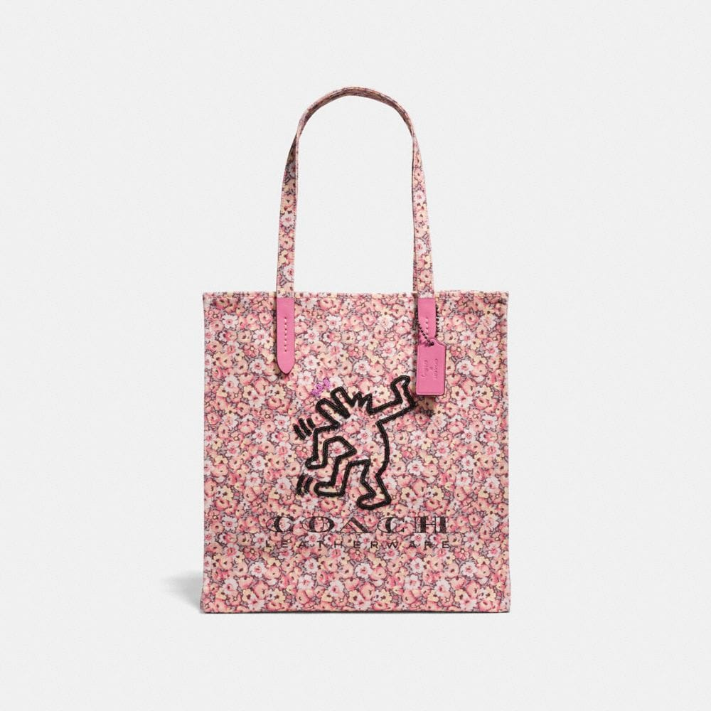 Tote - Keith Haring Long Handle Tote Bag Bright Pink - rose - Tote for ladies Coach