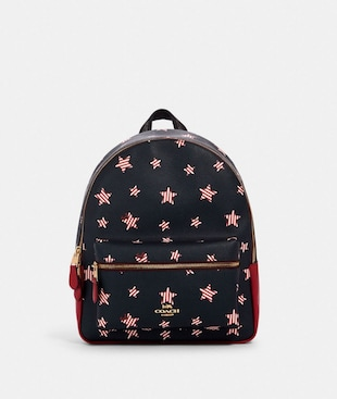 MEDIUM CHARLIE BACKPACK WITH AMERICANA STAR PRINT