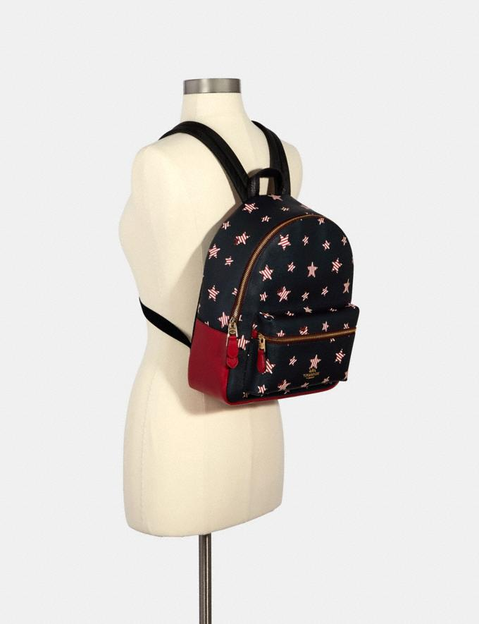 Coach Medium Charlie Backpack With Americana Star Print Im/Navy/ Red Multi  Alternate View 2