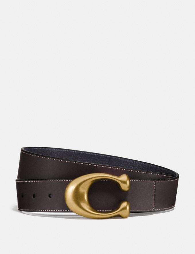 Coach Signature Buckle Reversible Belt, 38mm Chestnut/Midnight/Brass Men Accessories