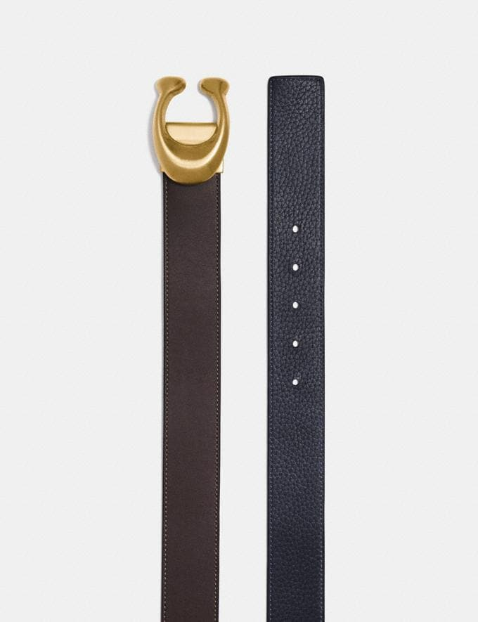Coach Signature Buckle Reversible Belt, 38mm Chestnut/Midnight/Brass Men Edits Work Alternate View 1