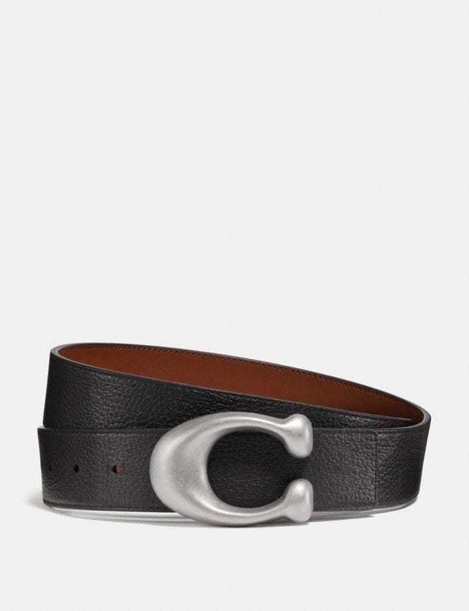 Coach Signature Buckle Reversible Belt, 38mm Black/Saddle/Brushed Nickel Men Edits Work