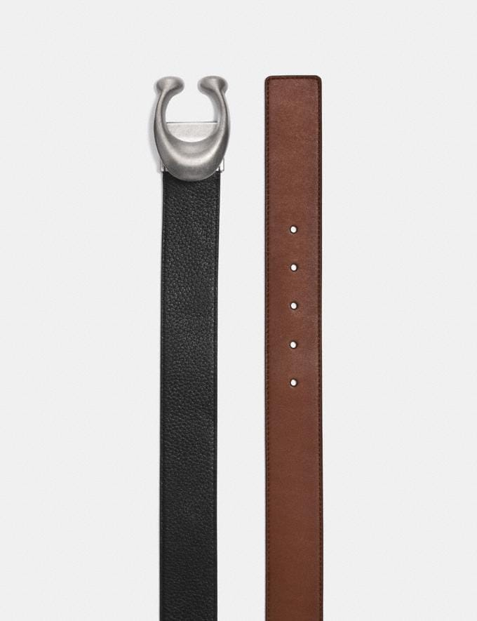 Coach Signature Buckle Reversible Belt, 38mm Black/Saddle/Brushed Nickel Men Edits Work Alternate View 1
