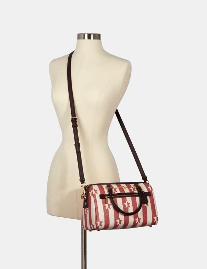 Coach Rowan Satchel With Stripe Star Print Im/Chalk/ Red Multi  Alternate View 2