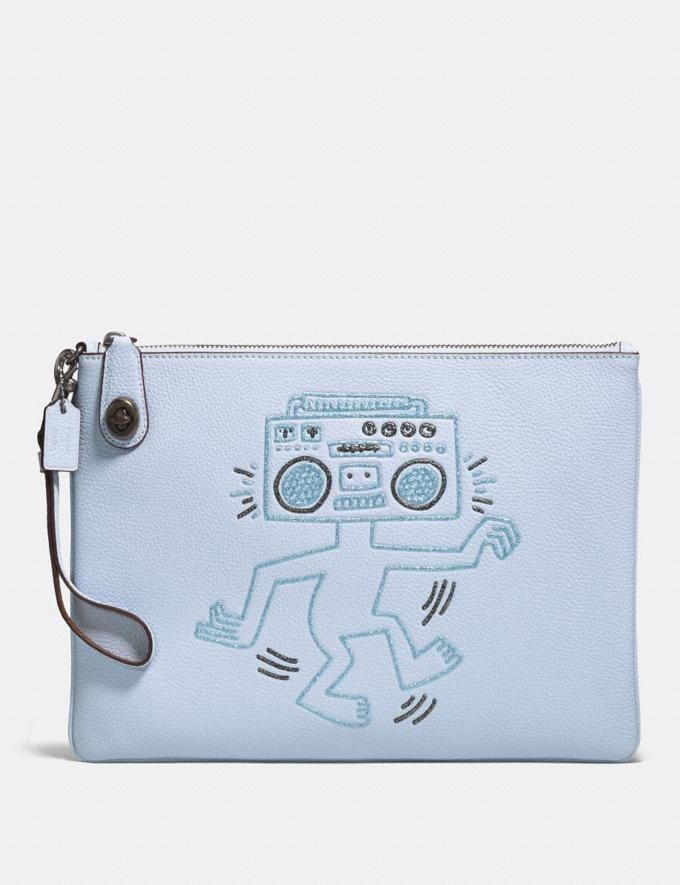 Coach Coach X Keith Haring Turnlock Wristlet 30 Ice Blue/Black Copper